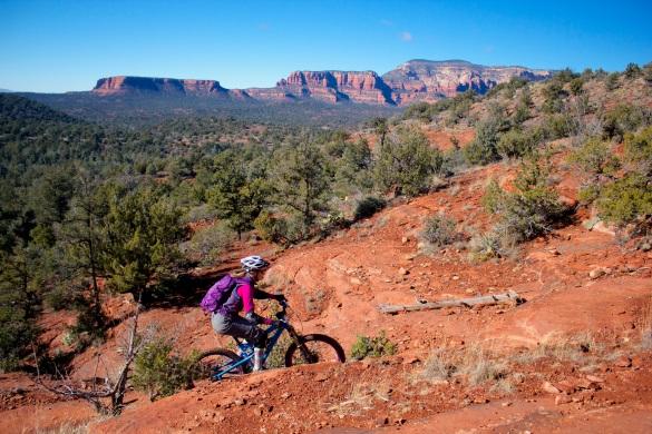 Sharon climbing up Chuckwagon Trail...